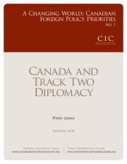 Cover image - Canada and track two diplomacy